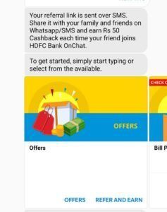 hdfc onchat trick