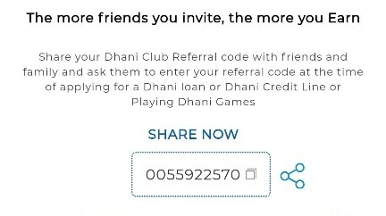 dhani refer code